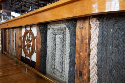 Nautical ropes and helm wheel at Mariners Bar